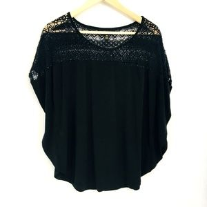 Thalia Sodi Black Lace Yoke Cape Short Sleeve Top